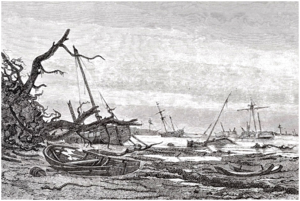 1872 Baltic Sea flood - The destructions created by the 1872 Baltic sea flood in the area between Præstø and Faxe as depicted by Holger Drachmann as reporter for Illustreret Tidende