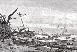 1872 in Denmark - The destructions caused by the 1872 Baltic Sea flood in the area between Præstø and Faxe as depicted by Holger Drachmann as reporter for Illustreret Tidende.