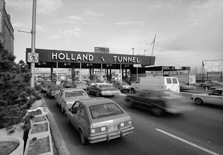 Tolls collected at the Holland Tunnel and other crossings help fund the Port Authority Holland tunnel toll booth.jpg
