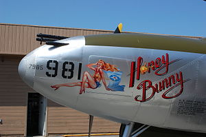 Nose art - 'Honey Bunny', a Lockheed P-38 Lightning