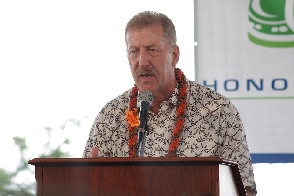 Honolulu Mayor Peter Carlisle at Rail Groundbreaking 2011-02-22