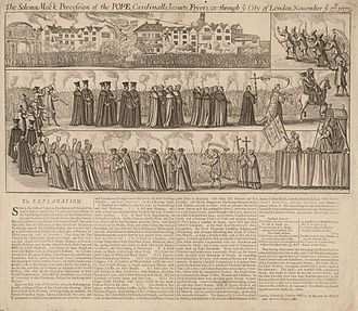 "Popish Plot - Broadside, ""The Solemn Mock Procession of the POPE, Cardinalls, Iesuits, Fryers etc: through ye City of London, November ye 17th. 1679."""
