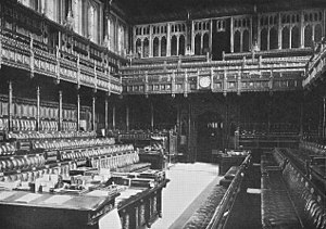 House of Commons of the United Kingdom - The old Chamber of the House of Commons built by Sir Charles Barry was destroyed by German bombs during the Second World War. The essential features of Barry's design were preserved when the Chamber was rebuilt.