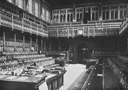 The old Chamber of the House of Commons built by Sir Charles Barry was destroyed by German bombs during the Second World War. The essential features of Barry's design were preserved when the Chamber was rebuilt. Houseofcommons1851.jpg