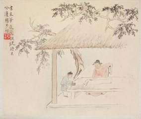 Album of Landscape Paintings Illustrating Old Poems: A Man Sits at a Table before an Open Scroll; a Boy Mixes Ink (1982.68.10)
