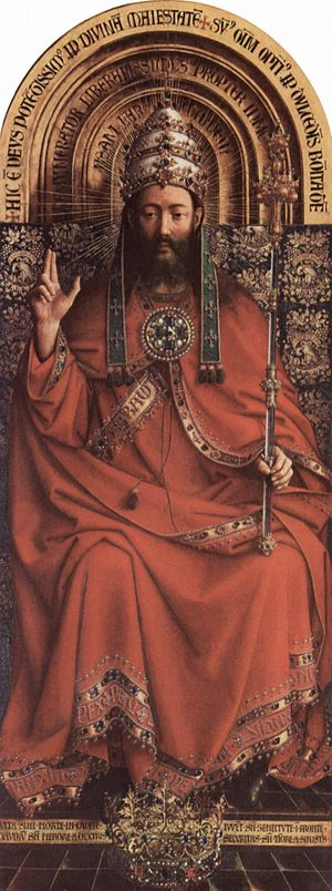 Christ the King - Christ the King, a detail from the Ghent Altarpiece by Jan van Eyck. St Bavo's Cathedral, Ghent.
