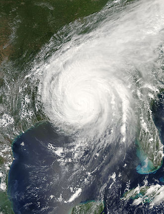 Meteorological history of Hurricane Katrina - Hurricane Katrina following its third landfall, but still at hurricane strength, over southern Mississippi