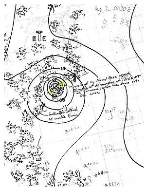 1944 Atlantic hurricane season - Image: Hurricane Three surface analysis 1944