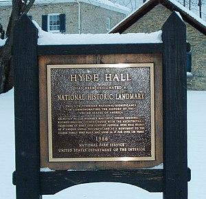 Hyde Hall - National Historic Landmark plaque