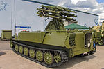 I34 combat vehicle with Strelets launching module from Luchnik-E AA system at Engineering Technologies 2012 02.jpg