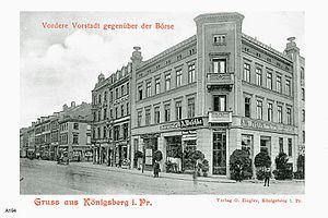 Vorstadt (Königsberg) - Postcard of Vordere Vorstadt across from the Stock Exchange