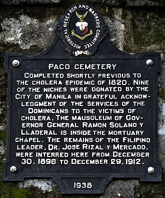Paco Park - Marker of Paco Cemetery