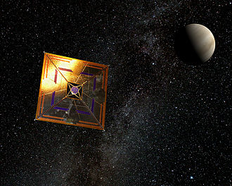 Solar sail - IKAROS space-probe with solar sail in flight (artist's depiction) showing a typical square sail configuration