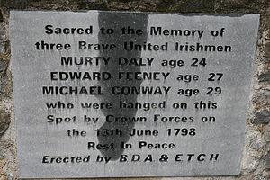 Ballycumber - 1798 rebellion memorial on the roadside