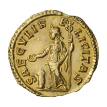 A golden coin bearing the inscription of a standing Felicitas, facing left