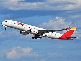 Iberia Airbus A350-941XWB EC-NDR departing JFK Airport.jpg