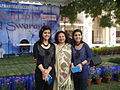 Ila and Ibra Khalid in Indraprastha college with the principal.jpg