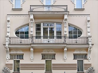 Balcony - A double-deck balcony of the Albert Iela in Riga.