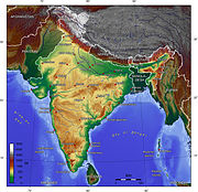 Map of India. Most of India is yellow (elevation 100–1000 m). Some areas in the south and mid-east are brown (above 1000 m). Major river valleys are green (below 100 m).