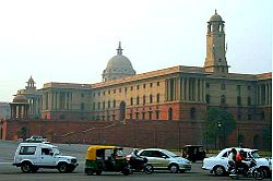 The North Block situated at Raisina Hill, Delhi houses Finance and Home Ministries and Department of Personnal and Training (Ministry of Personnel, Public Grievances and Pensions)