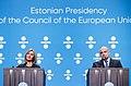 Informal meeting of defence ministers (FAC). Press conference Federica Mogherini and Jüri Luik (36270554613).jpg