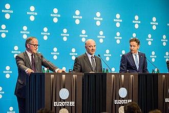 Jeroen Dijsselbloem - Benoît Cœuré, Pierre Moscovici, and Jeroen Dijsselbloem, 2017