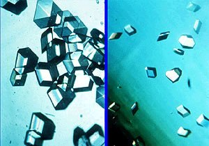 Space manufacturing - Comparison of insulin crystals growth in outer space (left) and on Earth (right).