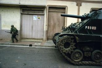 Nicaraguan Revolution - A M4 Sherman tank of the Nicaraguan National Guard during clashes with Sandinista rebels in Estelí, 1979