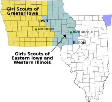 Map of Girl Scout Councils in Iowa