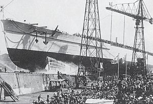 Francesco Caracciolo-class battleship - Francesco Caracciolo is launched at the Royal Naval Yard, Castellamare di Stabia, on 12 May 1920. She was the only member of her class to be launched, but she was not completed.