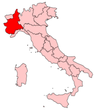 Subalpine Republic - Map of Piedmont within modern Italy