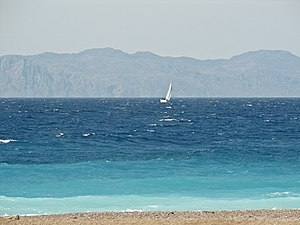 Geography of Asia - The coast of Turkey, original Asian shore seen from a beach on Rhodes.