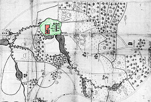 "Izmaylovo Estate - Map of Izmailovo, 1664, prior to major redevelopment. Note that the ""island"" (green) with the Court (red) is still connected to the mainland. The circular structure below it is the Menagerie, here still without a circular moat. Small, faint circles indicate unused land suitable for farming or construction. In fact, there were far fewer trees than now!"
