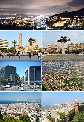 Clockwise from top: View of İzmir at night from Narlıdere, Gündoğdu Square, aerial view of İzmir in the evening, outlook from Asansör in Karataş, Gulf of İzmir viewed from Kadifekale, Karşıyaka, and İzmir Clock Tower in Konak Square