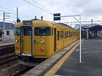 JNR 115 yellow livery at Kamigori Station, JRW.jpg