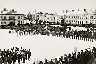 Jäger Movement - Finnish Jägers parading at the town square of Vaasa 1918.