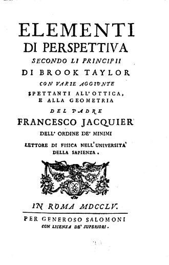 François Jacquier - Elementi di perspettiva, 1755