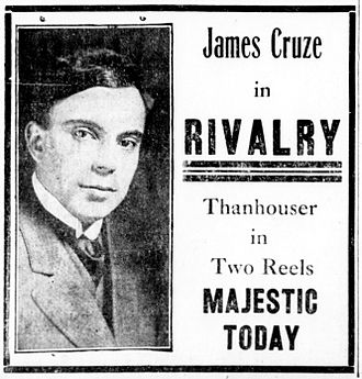 James Cruze - newspaper advertisement for Rivalry (1914)