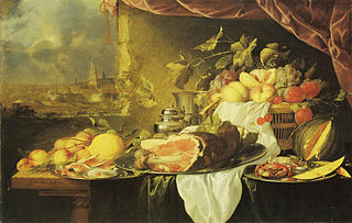Fruit and Ham on a Table with a View of a City