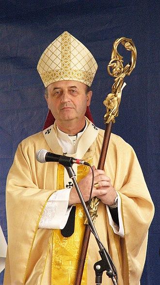 Jan Graubner - Jan Graubner, archbishop of Olomouc. He is holding a crosier made by sculptor Otmar Oliva in 1994.