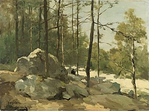 Hague School -  Forest View near Barbizon (1900) by Jan Hendrik Weissenbruch
