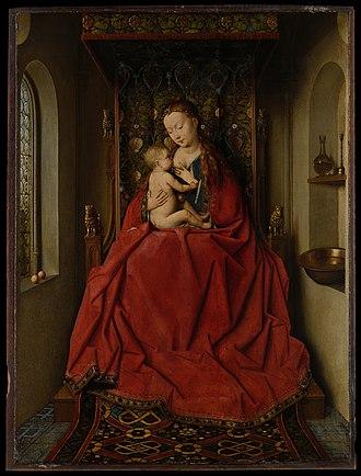 Dresden Triptych - Jan van Eyck's Lucca Madonna, c. 1436. Städelsches Kunstinstitut, Frankfurt