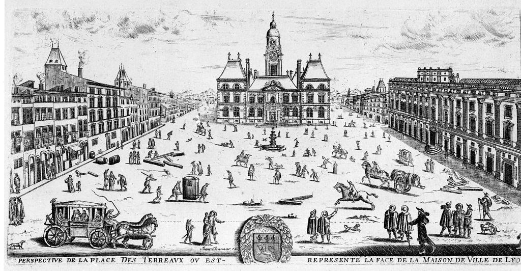 Place des Terreaux à Lyon en 1653 : Perspective après achèvement de l'abbaye.
