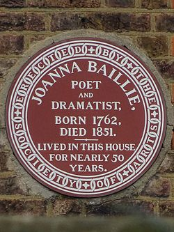 Joanna baillie poet and dramatist born 1762 died 1851 lived in this house for nearly 50 years