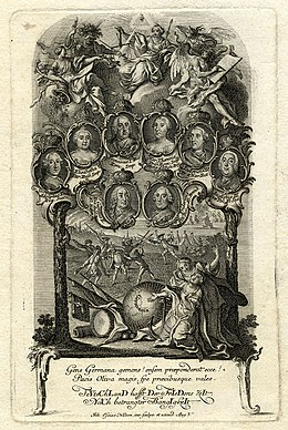Engraving of the faces of the monarchs who participated in the Third Silesian War set against an allegorical scene representing the return of peace