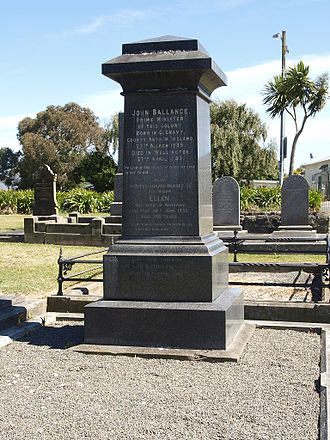 John Ballance - Ballance's gravestone in Whanganui