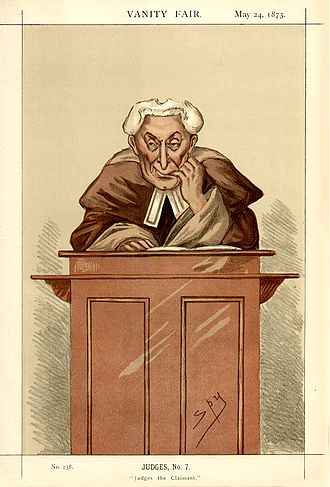 """John Mellor (judge) - """"Judges the Claimant"""" Mellor as caricatured by Spy (Leslie Ward) in Vanity Fair, May 1873"""