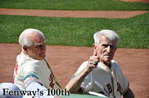 Bobby Doerr - Doerr (left) alongside Johnny Pesky at Fenway Park's 100th anniversary in 2012