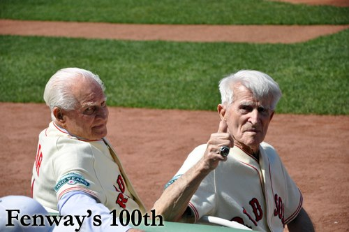 Johnny Pesky and Bobby Doerr at Fenway's 100th Anniversary Game