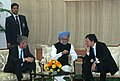 Jose Manuel Barroso and the Prime Minister of the Republic of Portugal, Mr. Jose Socrates, at a reception hosted by the Prime Minister, Dr. Manmohan Singh, in New Delhi on November 30, 2007.jpg